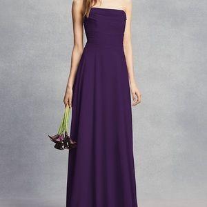 Strapless Georgette Sheath Bridesmaid Dress